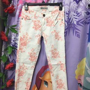Enperial White Peach Flower Skinny Jeans